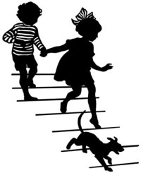 children-and-dog-running-down-stairs-bc006